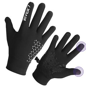 RIVER7 Running Walking Cycling Grip Gloves Reflective Warm Brushed Touchscreen
