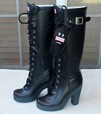"Hunter Lapins Black 4"" Heel Lace Up Rubber Rain Boots US5 EU36 EUC Gummistiefel*"