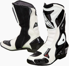 Prexport Sonic White Leather Race Sport Motorcycle Boots New RRP £139.99!!!