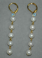 White Pearl Earrings With 14 K Fashion New Round Aaa 9-10mm South Seas