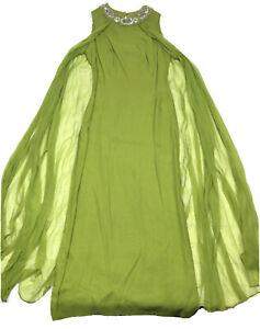 Vintage Maxi Dress Chiffon Green Formal Gown