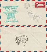 US 1947 AM 64 TEXAS FIRST FLIGHT FLOWN COVER LAMESA TO HOUSTON