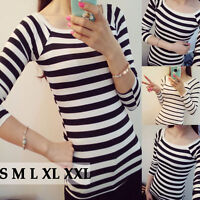 Women's Round Neck Long Sleeve Striped Bottoming Shirt Slim Pullover Blouse Tops