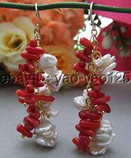 White keshi  Pearl Red Coral Earrings