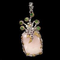 Handmade Antique 11.26ct Pink Opal Emerald Rhodolite 925 Sterling Silver Pendant