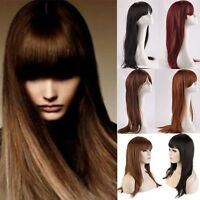 Women Long Hair Full Wig Fringe Bangs Hair Nets Full Bangs Black Brown Blonde UK