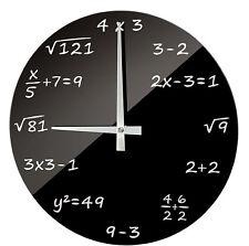 Funk WANDUHR Uhr ALGEBRA Rechnen Wurzeln Mathematik Uhr Funkuhr Glas Schwarz NEU