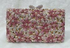 Pink ~Gold~Floral NEW Handmade Austrian Crystal Purse Cocktail Evening Bag