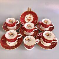 Gorgeous Royal Worcester Demitasse Cups/Saucers Set Of 6 - Burgundy, Gilt, Fruit