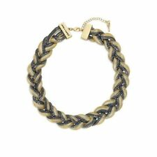 Chloe and Isabel Two-Tone Braided Snake Chain Collar Necklace N178T - NEW - RARE