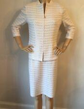 NWT St John Knit Evening suit skirt jacket size 6 bright white & gold