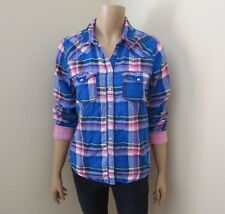 Hollister Womens Plaid Button Down Shirt Size Large Top Blouse Blue & Pink