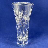 """Heavy Lead Crystal Cut Glass Vase Collectible 7"""" Tall  VINTAGE Flared Rim"""