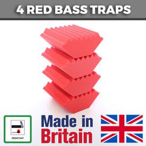 4 Red Acoustic Foam Bass Traps Corner Traps For Studio Sound Acoustic Treatment