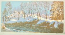 "Signed Original Russian Wood Block Print Winter Snow River Landscape 20"" x 12.5"""
