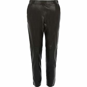 Women's River Island Leather Look Slim Joggers in Black with DEFECT CHEAP