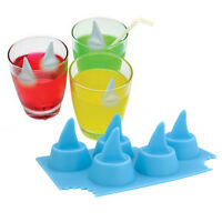 Silicone Ice Cube Shark Fin Tray Bar Party Jelly Chocolate Maker Mould Home Pop