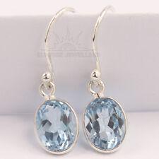 Fabulous Earrings 925 Sterling Silver Jewelry Natural BLUE TOPAZ Oval Gemstones