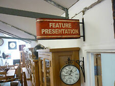 VINTAGE LOOKING RUSTIC METAL FEATURE PRESENTATION SIGN SAME ON BOTH SIDES