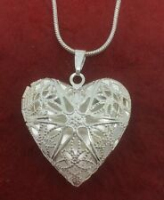 Heart Locket Necklace Silver Plated fits photos 18inch chain and Pendant
