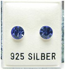 NEU 925 Silber OHRSTECKER 6mm SWAROVSKI STEINE saphir/blau OHRRINGE