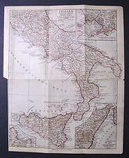 Antica Stampa Topografica=ITALIA DEL SUD,SICILIA=1909.Scala1:2500000.Meyers.ETNA