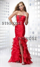 BEAUTY MERMAID! RED BEADED FORMAL/PROM/EVENING DRESS WITH RUFFLE HEM AU12/US10