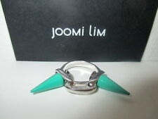 JOOMI LIM Silver l Double Spike Link Ring Size 5 NWOT $181 GREEN