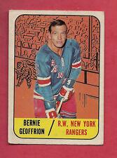 1967-68 TOPPS  # 29 RANGERS BERNIE BOOM BOOM GEOFFRION CARD