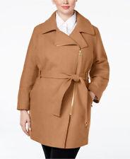 Michael Kors Asymmetrical Wool Blend Womens Coat Camel Plus Size 2x