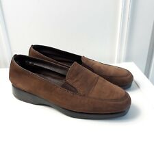 Hush Puppies Slip on Brown Leather Flat Loafer Comfort Shoes Elasticated Sz 6 39