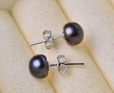 Wholesale Natural White Akoya Freshwater Pearl 925 Sterling Silver Stud Earrings