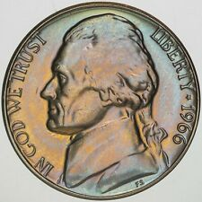 1966-P USA JEFFERSON NICKEL PROOF UNC GEM TONED CHOICE BU COLOR #17 (DR)