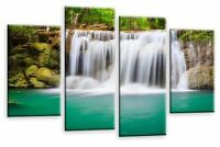 Forest Waterfall Art Picture Teal White Trees Landscape Canvas Wall Print 112 cm