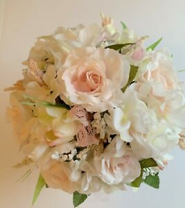 PALE PINK BRIDE BOUQUET & MATCHING BOUTONNIERE ROSES, SMALL TULIPS IN PALE PINK