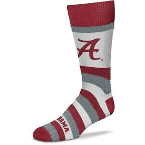 Alabama Crimson Tide Rainbow Pro Stripe Soft Fuzzy Crew Socks