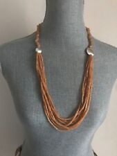 """Long endless peach quartz layered statement necklace 30"""" 925 Sterling silver new"""