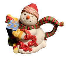 1995 Fitz & Floyd Snowman Teapot Smiling Christmas And Figurine Presents Winter