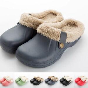 Women Men Furry Lined Clogs Slippers Winter Garden Shoes Warm Mules Waterproof