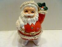 Vintage 1959 NAPCO JAPAN Ceramic SANTA COIN BANK Spaghetti Trim CHRISTMAS