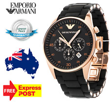 NEW EMPORIO ARMANI AR5905 Mens Watch Black Chrono Rose Gold SPORTIVO QUARTZ