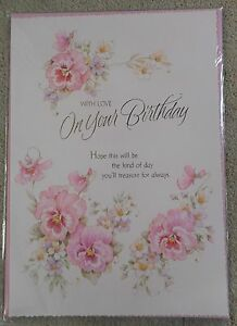 With Love On Your Birthday - Flower design - A4 Happy Birthday Card
