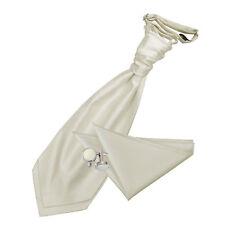 DQT Woven Plain Solid Check Ivory Cravat Hanky Cufflinks Set Free Pin
