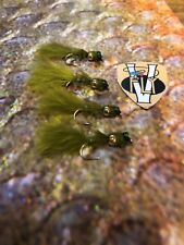 4 V Fly Size 12 Ultimate Super Olive Gold Bead Damsel Nymph Trout Flies