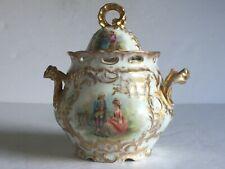 Antique Dresden Porcelain PAINTED Sugar Bowl Gold Gilt WATTEAU Scroll N Mark