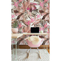 Removable wallpaper Tropical Pink Wall Covering Tropical Floral Palm Leaves