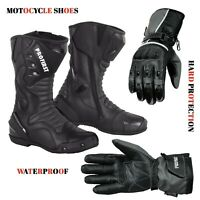 Waterproof Long Ankle Boots Leather Touring Footwear & Motorbike Leather Gloves