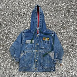 Vintage 80s Little Levi's Green Tab Patched Denim Jacket Size 3T