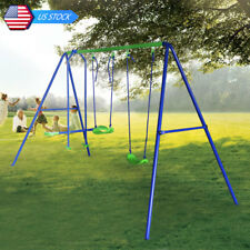 3 in 1 Kids Outdoor Game Play Set Double Swing 1 Seat Seesaw Child Birthday Gift