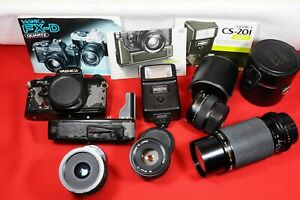 Yashica FX-D Quartz camera set w/ body, 3 lenses, strobe, winder, IB's and more